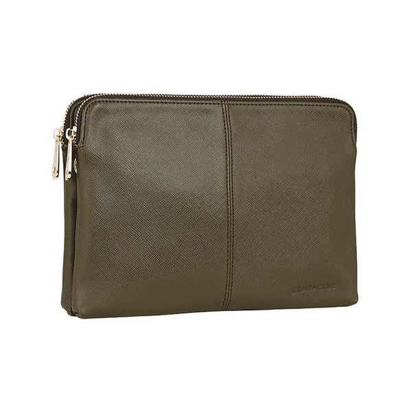 Shop Double Bowery Clutch | Khaki Saffiano at Rose St Trading Co