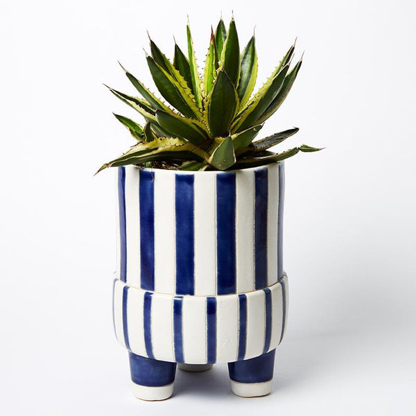 Shop Candy Stripe Blue Planter at Rose St Trading Co