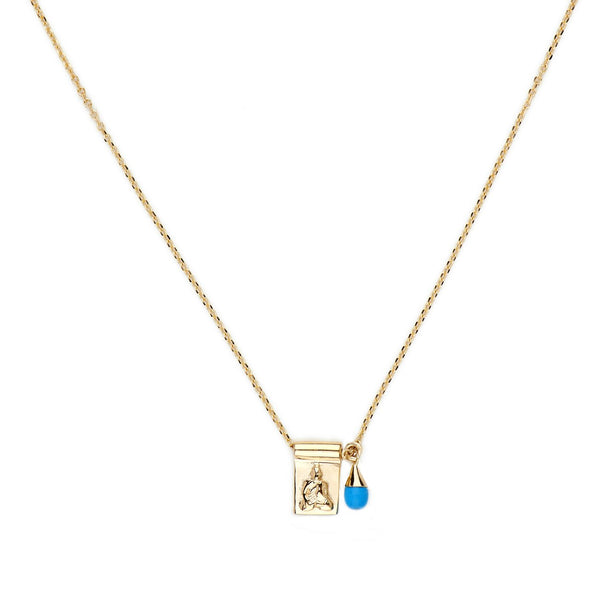 Gold Little Buddha and Sleeping Beauty Necklace