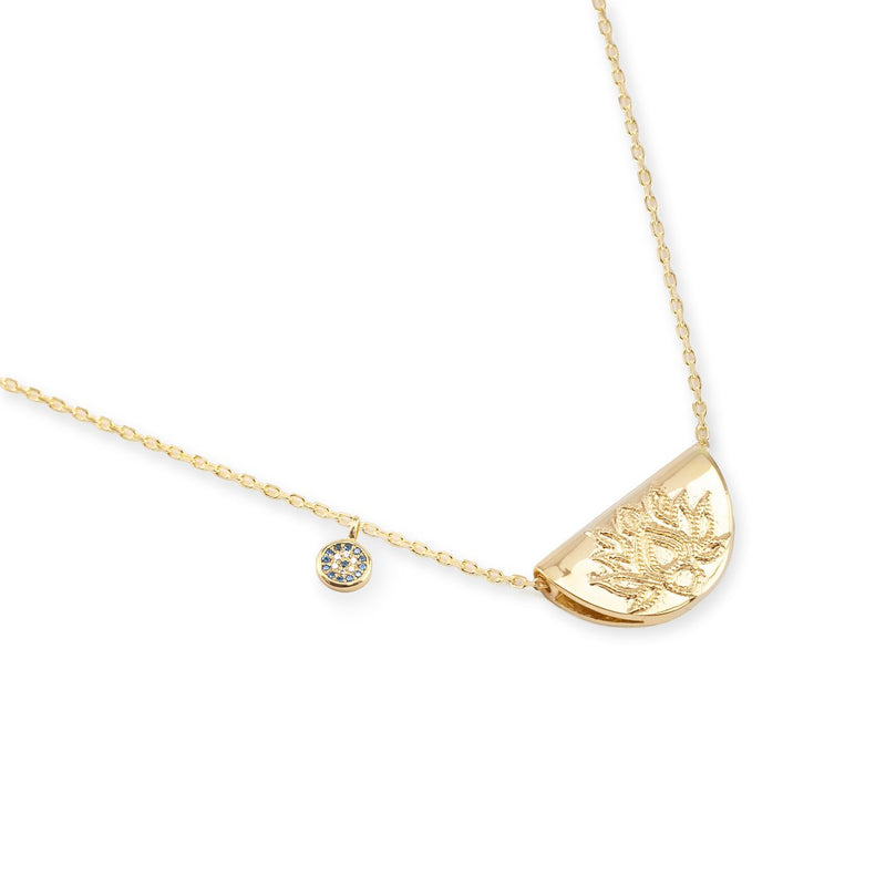Shop Gold Lucky Lotus Necklace at Rose St Trading Co