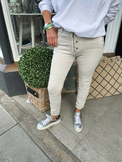 Shop Italian Jeans - Light Taupe at Rose St Trading Co