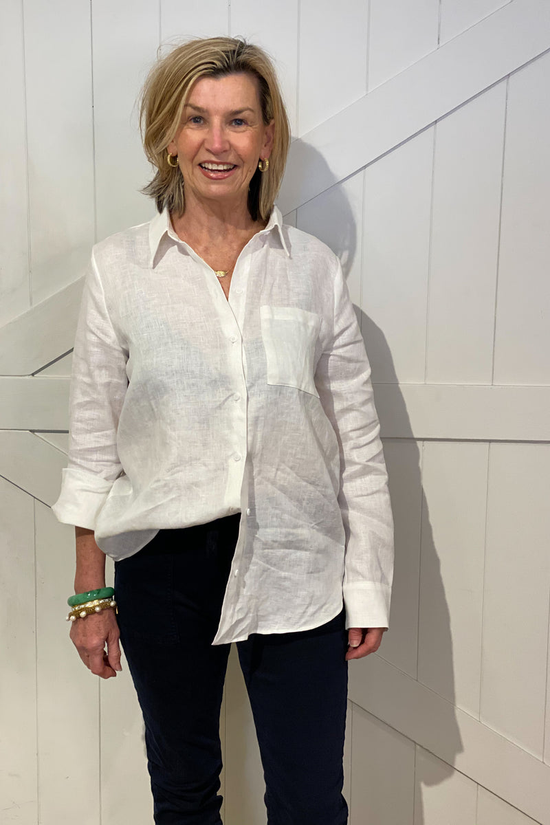 Shop Linen Boyfriend Shirt | White at Rose St Trading Co