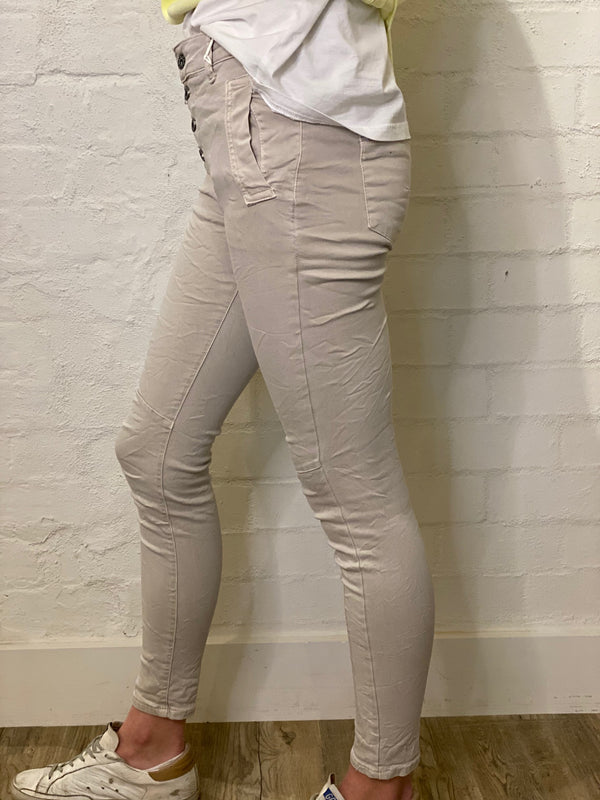 Shop Italian Jeans - Beige at Rose St Trading Co