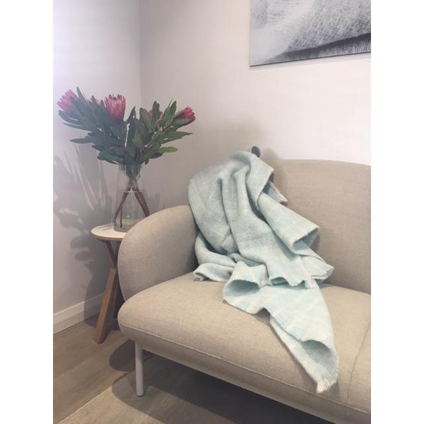 Shop Alpaca Throw | Mint Check at Rose St Trading Co