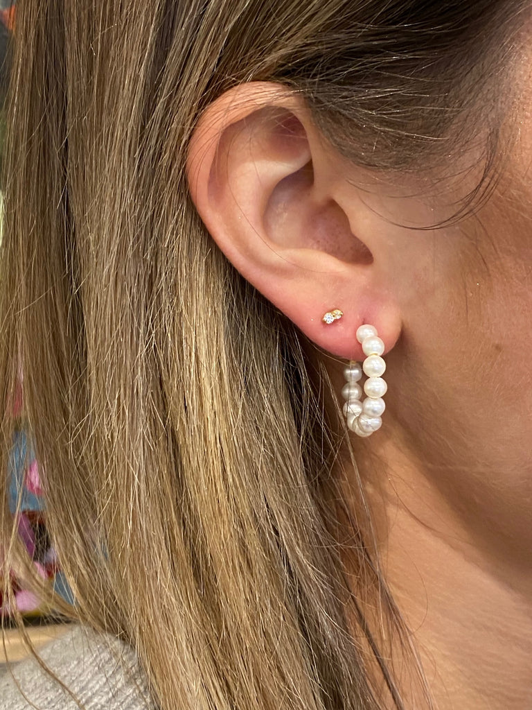 Shop Pearl 20mm Gold Hook Seed Pearl Earring at Rose St Trading Co