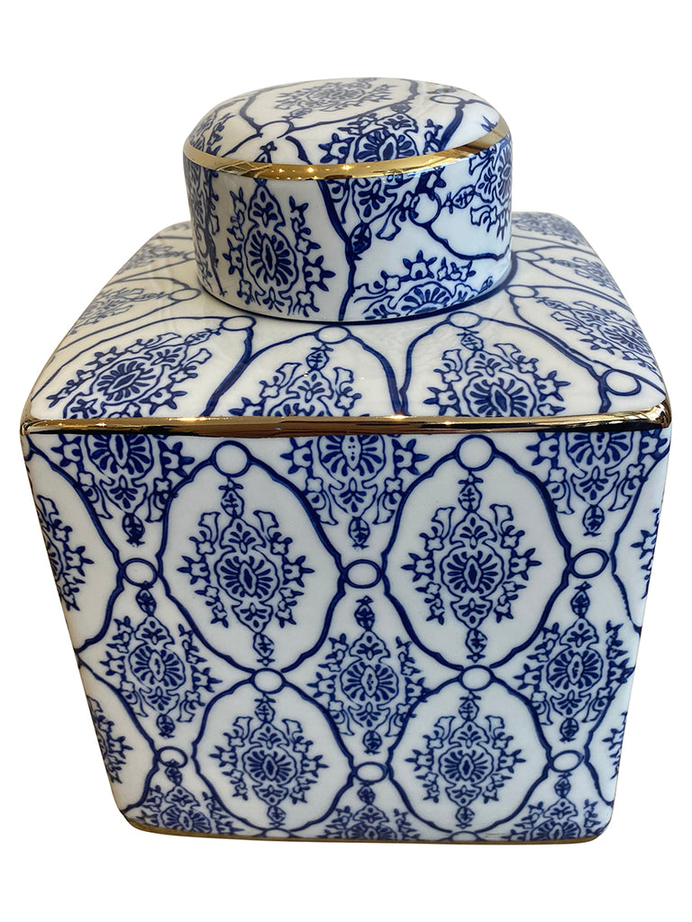 Shop Blue and White Canister- 21cm at Rose St Trading Co