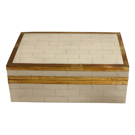 Shop Cream Tiled Box with Gold Detail- Large at Rose St Trading Co