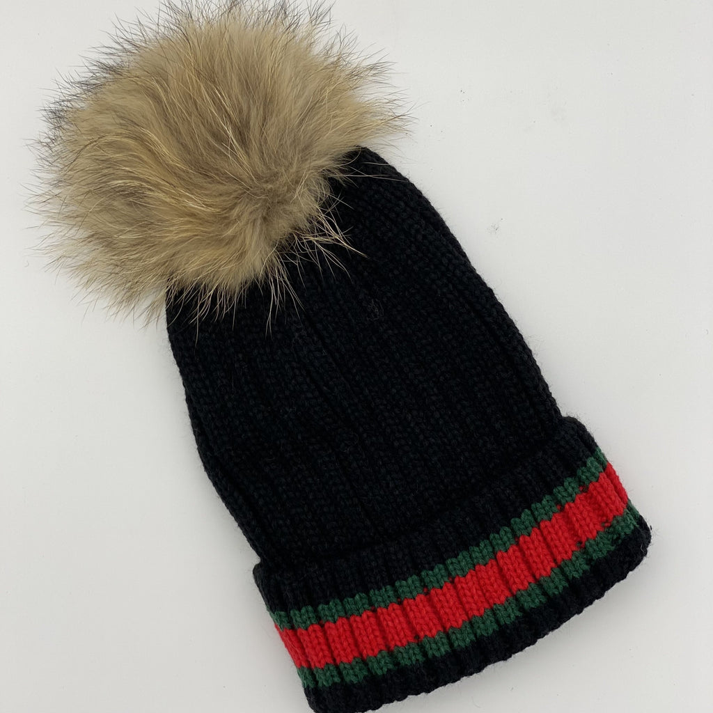 Shop Striped Beanie | Black/Natural Pom Pom at Rose St Trading Co