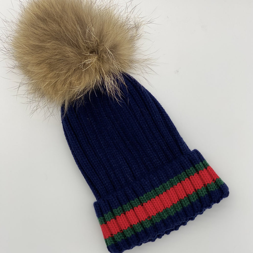 Shop Striped Beanie | Navy/Natural Pom Pom at Rose St Trading Co
