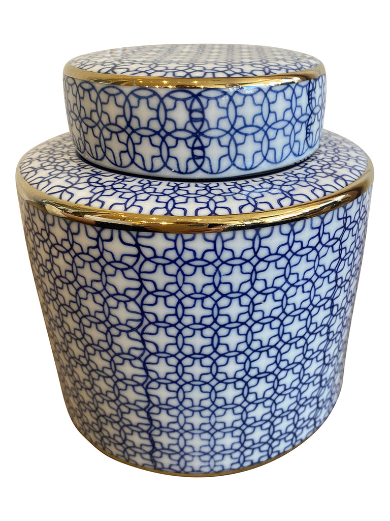 Shop Blue and White Round Jar - 16cm at Rose St Trading Co