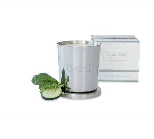 Shop Cucumber & Wild Basil - 1kg Silver Candle at Rose St Trading Co