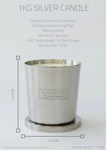 Shop Flowers and Pear - 1kg Silver Candle at Rose St Trading Co