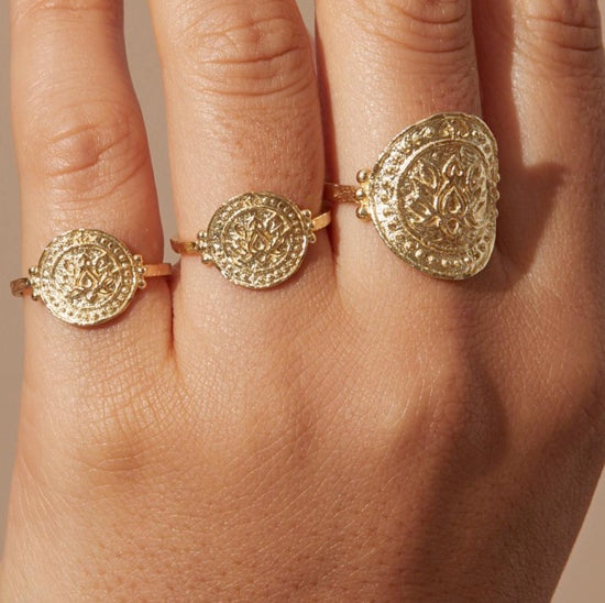 Shop Gold Large Lotus Rising Ring at Rose St Trading Co