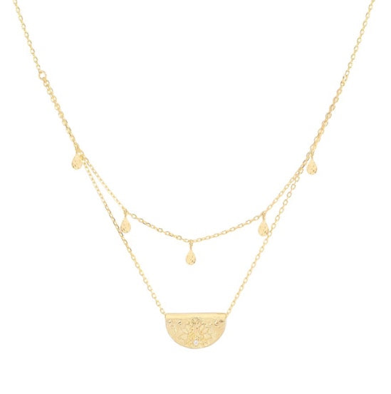 Shop Gold Blessed Lotus Necklace at Rose St Trading Co
