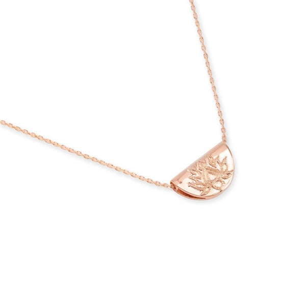 Shop Rose Gold Lotus Short Necklace at Rose St Trading Co