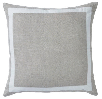 Shop Sand Linen Riviera Border Cushion - 50x50cm at Rose St Trading Co