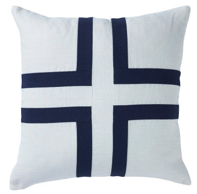 Shop Linen/Navy Cross Cushion | 50 x 50cm at Rose St Trading Co