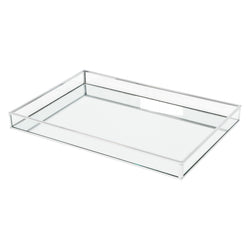 Shop Clear Glass Rectangular Tray with Mirror Base at Rose St Trading Co