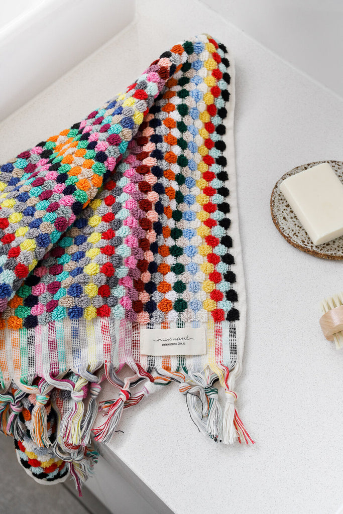 Shop Pom Pom Hand Towel - Multicoloured at Rose St Trading Co
