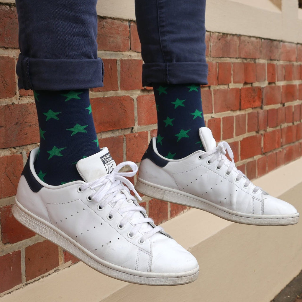 Shop Mens Socks | Green Stars at Rose St Trading Co
