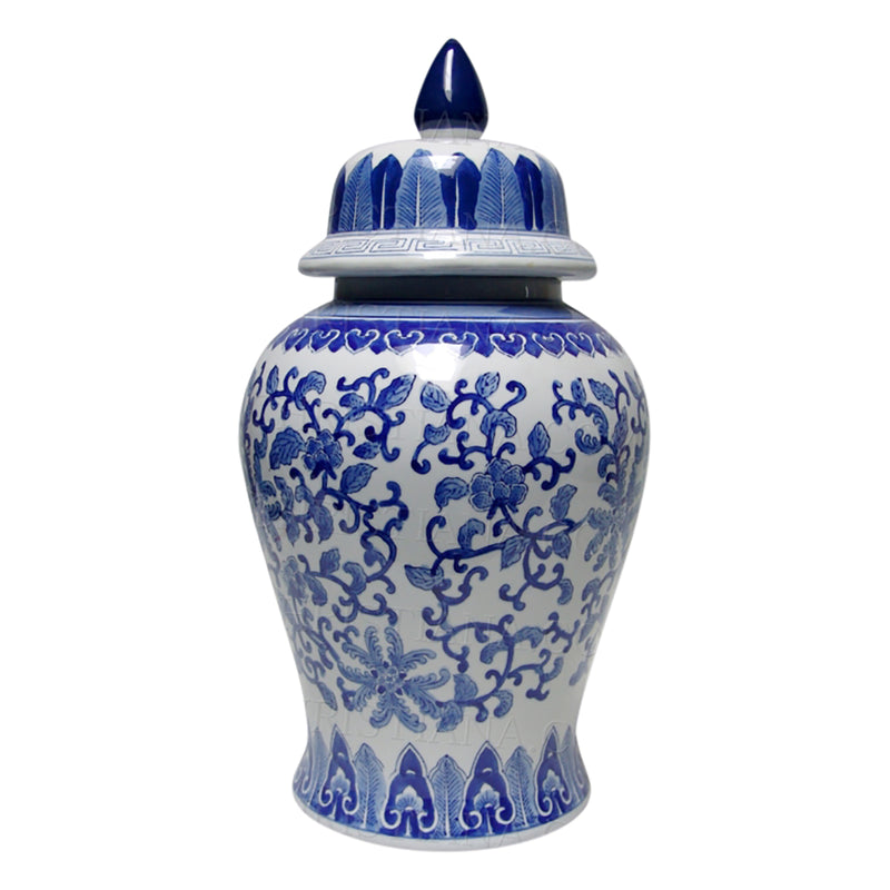 Shop Blue and White Lotus Temple Jar at Rose St Trading Co