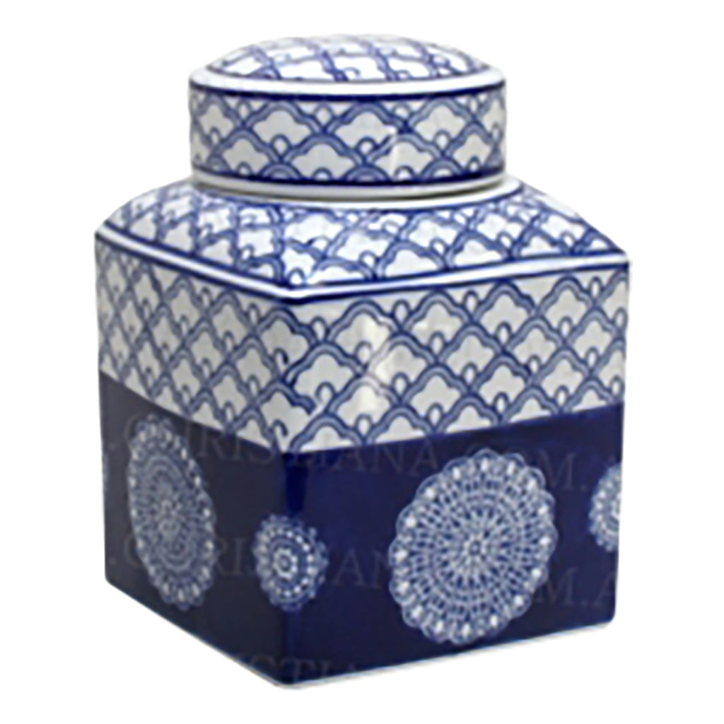 Shop Blue and White Rising Sun Sq Jar at Rose St Trading Co
