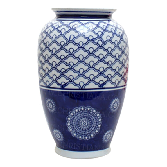 Shop Blue and White Rising Sun Vase at Rose St Trading Co