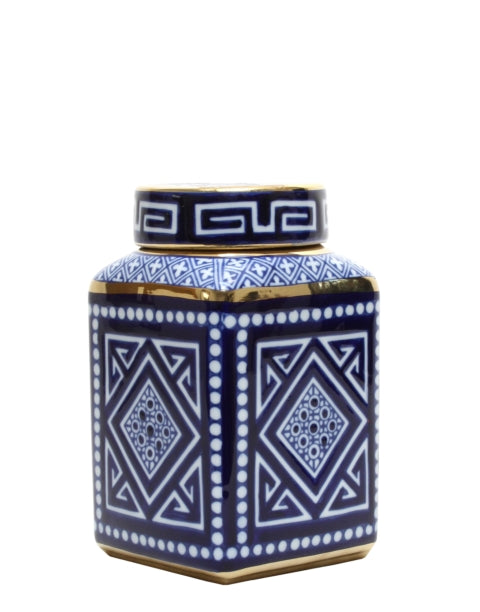 Shop Blue and White Aztec Square Jar at Rose St Trading Co