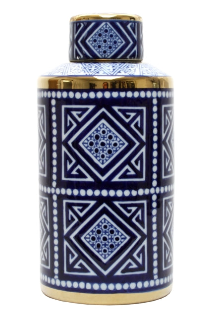 Shop Blue and White Aztec Round Jar - 30cm at Rose St Trading Co