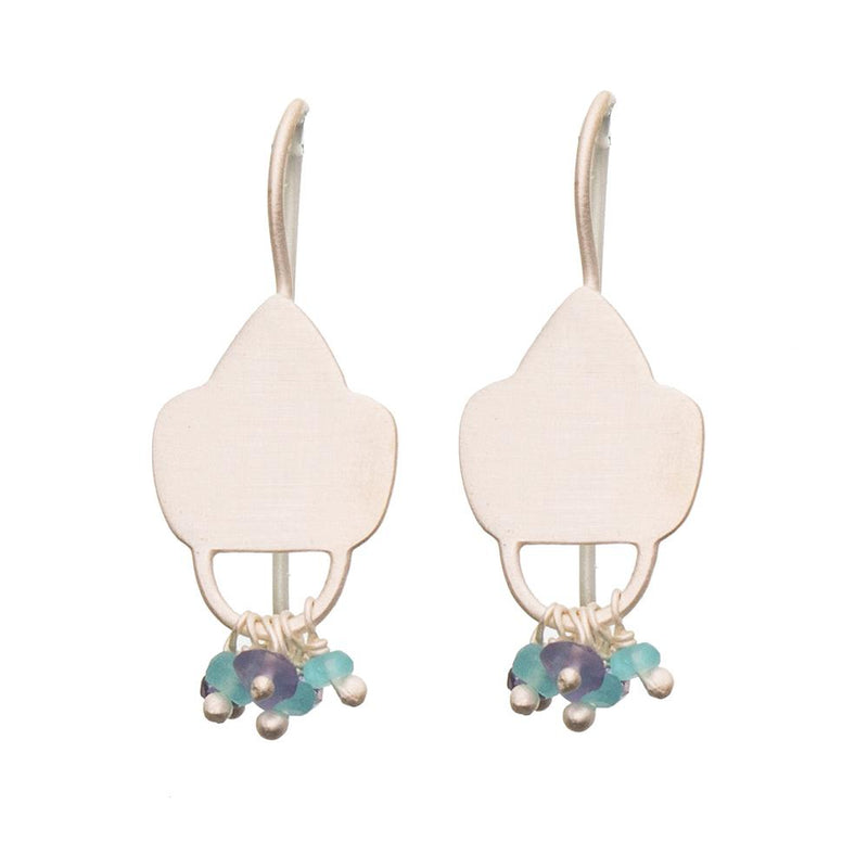 Shop Sterling Silver Shield Earrings -Iolite and Apatite at Rose St Trading Co