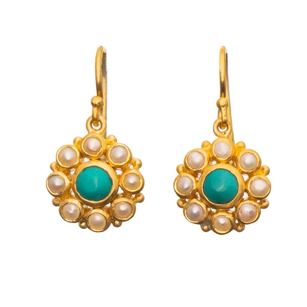 Shop Turquoise & Pearl Flower Earrings at Rose St Trading Co