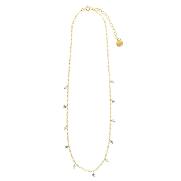 Shop Short Fine Chain with Iolite and Apatite Charms Necklace at Rose St Trading Co