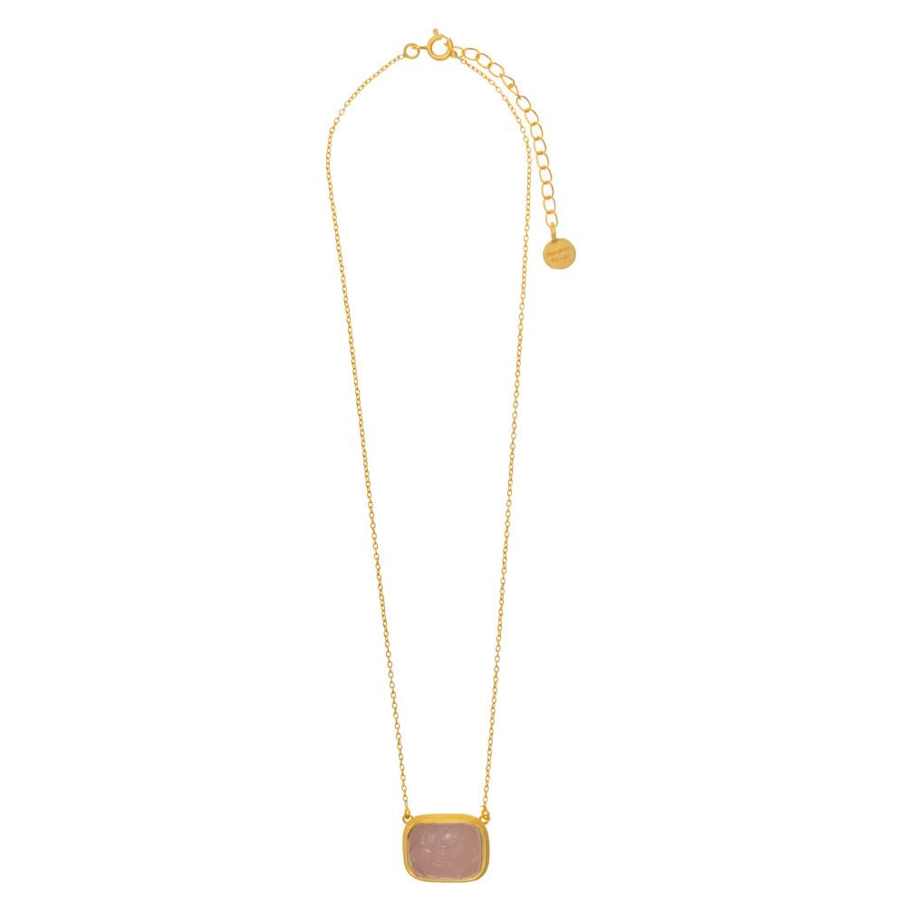 Shop Rose Quartz Carved Glass Necklace at Rose St Trading Co