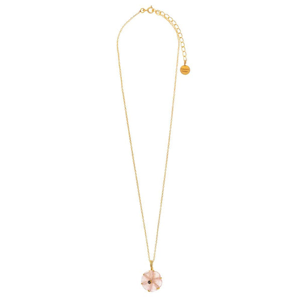 Shop Rose Quartz Carved Flower Necklace at Rose St Trading Co