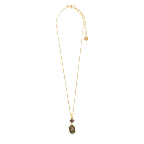 Shop Labradorite & Iolite Gold Pendant Necklace at Rose St Trading Co