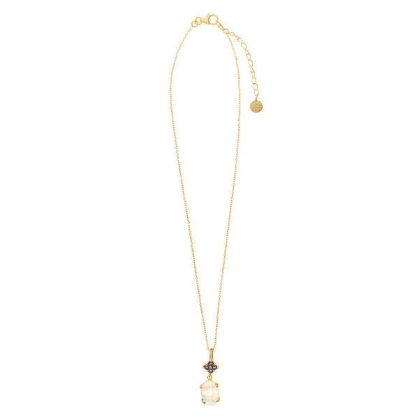 Shop Rainbow Moonstone & Iolite Gold Pendant Necklace at Rose St Trading Co