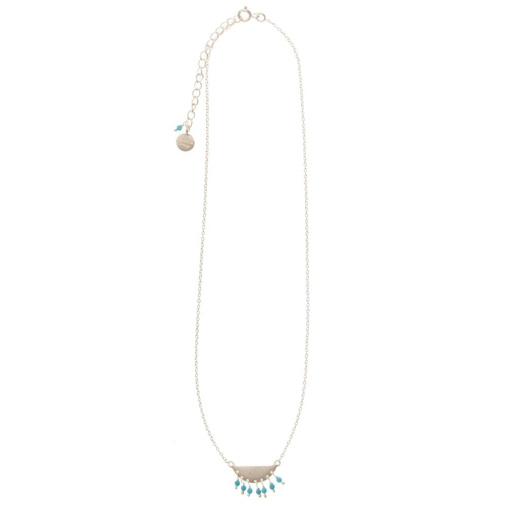 Shop Silver Half Moon with Turquoise Necklace at Rose St Trading Co