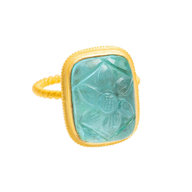 Shop Carved Blue Topaz Ring at Rose St Trading Co