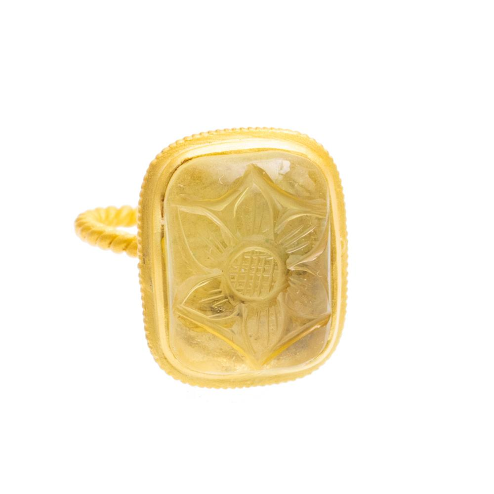 Shop Carved Lemon Quartz Ring at Rose St Trading Co