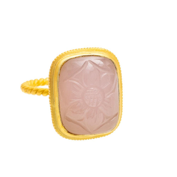 Shop Carved Rose Quartz Ring at Rose St Trading Co
