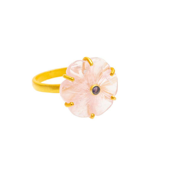Shop Carved Rose Quartz Flower Ring at Rose St Trading Co