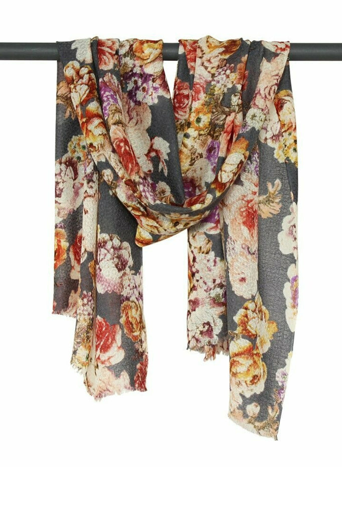 Shop Polly Wool / Silk Flower Print | Grey at Rose St Trading Co