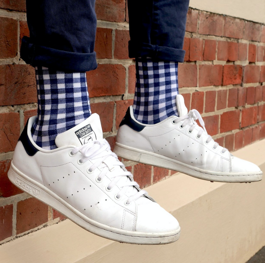 Shop Mens Socks | Navy Gingham at Rose St Trading Co