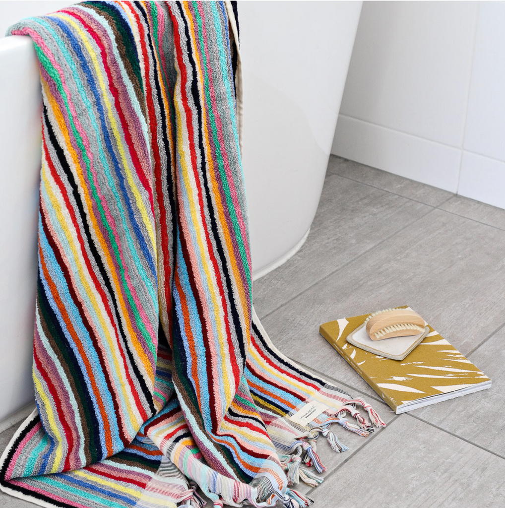 Shop Bath Towel - Multicoloured Stripe at Rose St Trading Co