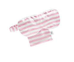 Shop Silk Eye Mask | Pink + White Stripe at Rose St Trading Co