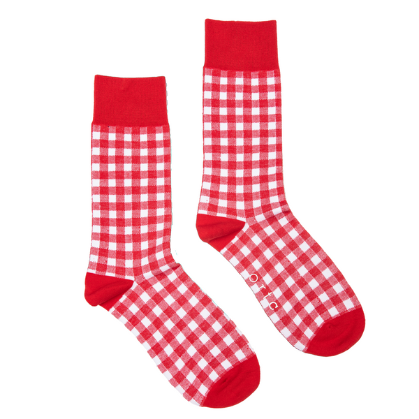 Shop Mens Socks | Red Gingham at Rose St Trading Co