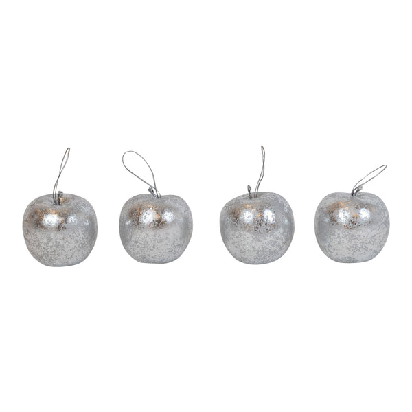 Shop Set of 4 Silver Apple Decorations - boxed at Rose St Trading Co