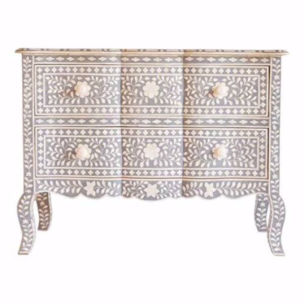Shop 2 Drawer French Chest - Bone Inlay  PRE ORDER STOCK DUE MID June at Rose St Trading Co