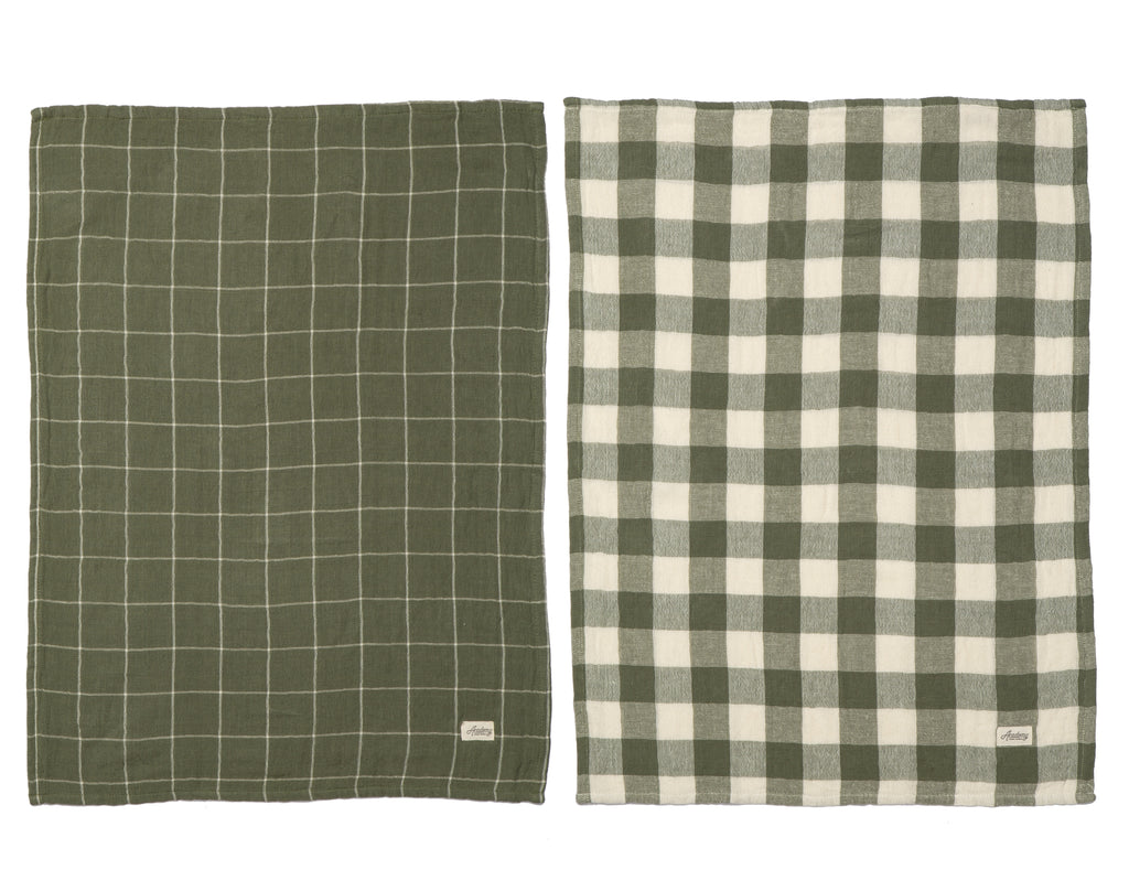 Shop Gingham Double Cloth Tea Towel | Green at Rose St Trading Co