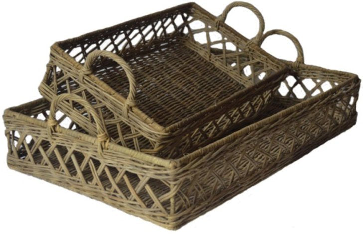 Shop Rattan French Grey Lattice Weave Trays at Rose St Trading Co